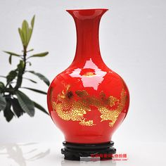 Jingdezhen Ceramic Vase Ornaments Chinese Red Dragon Floor Living Room  Decoration Vase Wedding Gift Part 57