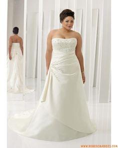 Robe A-ligne en satin agrémentée de broderies robe de mariée grande taille