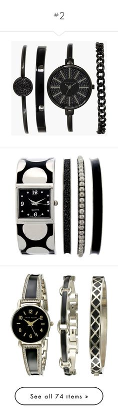 """""""#2"""" by anahayane ❤ liked on Polyvore featuring jewelry, bracelets, watches, hinged bracelet, black and gold jewelry, bangle bracelet, anne klein, anne klein jewelry, black bangles and kohl jewelry"""