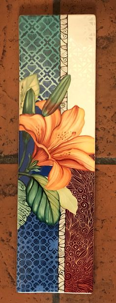 Tile Murals, Tile Art, Flower Prints, Flower Art, China Painting, Acrylic Canvas, Painting Inspiration, Ceramic Art, Art Lessons