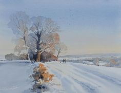 Oliver has established himself as a successful watercolour artist speacialising in landscape paintings of the UK and Europe. Watercolor Architecture, Watercolor Landscape Paintings, Watercolor Artists, Watercolour Painting, Abstract Paintings, Watercolours, Oil Paintings, Painting Snow, Winter Painting