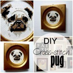 Pug cross-stitch