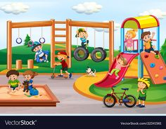 Children playing at playground vector image on VectorStock Preschool Decor, Picture Composition, Diy Crafts To Do, Cartoon Background, House Illustration, School Posters, Class Decoration, Giant Paper Flowers, Preschool Worksheets