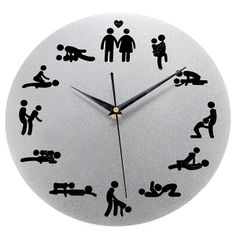 24 Hours Sex Position Clock Wall Clock for Bedroom Decor - Assorted Color