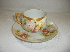 Eagle China Austria Signed Hand Painted Cup Saucer Rose Blossoms w Gold Accent