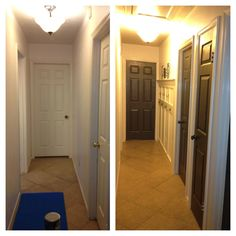 Weekend Update of the kids hallway. So boring and bland with the white walls. Sherwin Williams Marshmellow White paint on the walls and trim. Krylon Metallic Grey on the doors. Modge Podged photos of the kids on the leftover wood using some old gift wrapping tissue to line the edges. Love it!