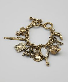 This Goldtone Princess Charm Bracelet is perfect! #zulilyfinds