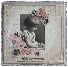 ♥ ♥ Sweet heritage childhood page with multi patterned background, clever matting and pearl embellishments ~ Jannhild's Papirhobby ♥ ♥ Heritage Scrapbook Pages, Kids Scrapbook, Vintage Scrapbook, Scrapbook Journal, Wedding Scrapbook, Scrapbook Page Layouts, Scrapbook Albums, Scrapbook Cards, Etiquette Vintage