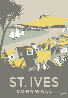 St Ives Porthmeor Framed at Whistlefish - handpicked contemporary & traditional art that is high quality & affordable. Posters Uk, Railway Posters, Poster Ads, Retro Posters, Vintage Films, Vintage Maps, Vintage Travel Posters, St Ives Cornwall, Surf