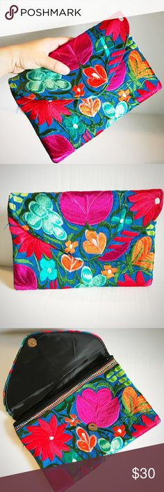 New Embroidered Oversized Envelope Clutch Floral Gorgeous colors! Cielito Lindo  Bags Clutches & Wristlets