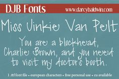 Get this funky, personal use font for free @ DJBFonts!