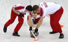 DAY 10:  (L-R) Alexander Kozyrev, Alexei Stukalskiy and Petr Dron of Russia compete during the Curling Men's Round Robin Session 10 - Russia vs. Sweden  http://sports.yahoo.com/olympics