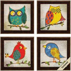 Colorful Birds and Owls Framed Wall Art.