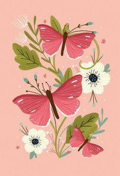 Pretty pink butterflies illustration