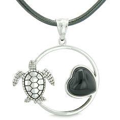 Amulet Cute Sea Turtle Magic Circle Heart Medallion Simulated Black Onyx Leather Pendant Necklace