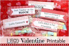 LEGO Valentines Treats and Free Printable - Mom vs the Boys