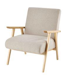 Fabric Armchair In Beige Benson