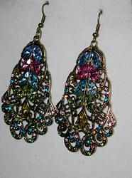 Gold Colorful Rhinestone Earrings. Style your outfit with ISM Chick's one of a kind pieces. Use the promo code: 4JULY to receive 15% off of purchase.  Offer ends July 4, 2014. Be sure to sign up to receive a bonus gift in your email.  #women #teen #fashion #style #fashionista #handcrafted #jewelry #earrings