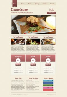 Connoisseur is a bold and modern website template suitable for websites pertaining to fine arts, cuisines, dining etc. Free Html Website Templates, Restaurant Website Templates, Web Design, Menu, Tasty, Yummy Food, Homemade Butter, Warm Food, Slow Food