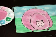 Pig painting kids art project by make and takes