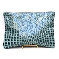 Turquoise Croc Jackson Clutch available now at 9thandelm.com #handmade #9thandelm