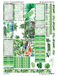 Free Printable Tropical Leaves Planner Stickers from Organized Potato