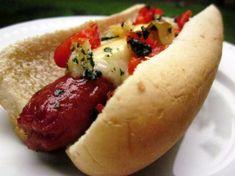 Manchego Cheese And Garlic Gourmet Hot Dogs Recipe - Genius Kitchen - trying these tonight Hot Dog Recipes, Rib Recipes, Sandwich Recipes, Brat Sausage, Gourmet Hot Dogs, Hot Dog Toppings, Burger Seasoning, Manchego Cheese, How To Cook Sausage
