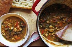 Spicy Peanut Mushroom Kale Soup [Vegan, Gluten-Free]