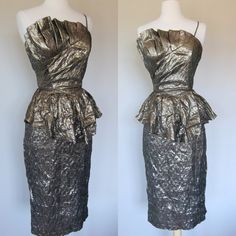 Vintage 80s Avant Garde Dress Small Gold Lame Peplum Cocktail Party Prom Metallic