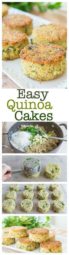 Easy Crispy Quinoa Cakes by fifteenspatulas: Great side dish for lunch or dinner. #Quinoa_Cakes #Healthy