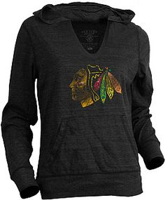 Old Time Hockey Chicago Blackhawks Women's Blasted Triblend Hooded Long Sleeve T-Shirt - Shop.NHL.com