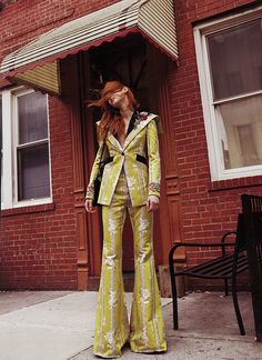 A jacquard 70's jacket and high waist flare pant from the Gucci Spring Summer 2017 collection and a top handle Gucci Sylvie bag in floral jacquard feature in the latest issue of Commons & Sense magazine.  Photographer: Silja Magg  Styling: Sarah Cobb