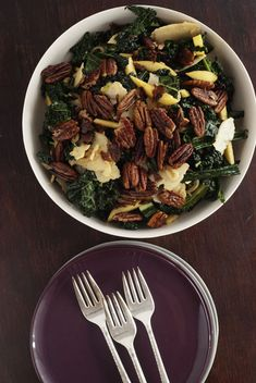 Kale and Apple Salad with Molasses Vinaigrette and Sugared Pecans - this is the business, would be amazing as a Thanksgiving side dish (Tweaks: I used Pink Lady apples, Sweet and Spicy pecans from Trader's Joes, and water instead of vegetable stock in the dressing)
