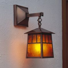 "Arroyo Craftsman Raymond 1-Light Outdoor Wall Lantern Size: 21.75"" H x 9.88"" W x 13.38"" D, Finish: Raw Copper, Shade Type:"