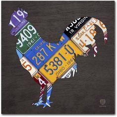 Trademark Fine Art 'Rooster' Canvas Art by Design Turnpike, Size: 35 x 35, Multicolor