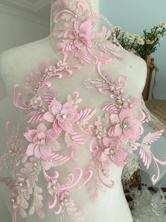 Excited to share the latest addition to my shop: Exquisite Pearl Beaded Lace Applique Set in Dust Pink,Metalic Silver Thread Bridal Wedding Gown Applique, Bridal Dress Decor, Bodice Pink Wedding Gowns, Lace Weddings, Applique Wedding Dress, Applique Dress, Couture Embroidery, Embroidery Dress, Applique Designs, Embroidery Designs, Wedding Cales