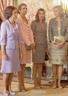 Spain's Royal Ladies - From L to R: Queen Sofia, Infanta Elena, Infanta Letizia, Infanta Cristina. Prince And Princess, Princess Of Spain, Adele, Queen Sophia, Casa Real, Spanish Royalty, Spanish Royal Family, Royal Dresses, Estilo Fashion
