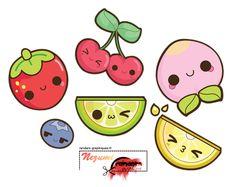 Render Fruits/Légumes - Renders A Little Kitty Fruits Kawaii Cerise Fraise Peche Prune Citrons Vert