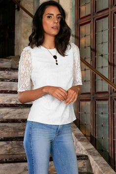 White Stretchy Lace Elbow Sleeve Cute Dressy Fancy Evening Top - Women ed9abeceb5ae