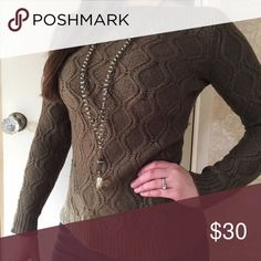 Sweater Dark army green knit sweater. Beautiful boat neckline and so cozy. Ann Taylor Sweaters Crew & Scoop Necks