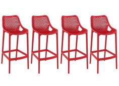 Tabouret de bar design 75 cm rouge lot de 4 LUCY -