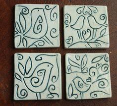 Ceramic Coasters with bird design carving