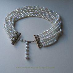 Collier Multi rang en Perles de Verre Nacrée Fermoir en Vermeil. | eBay