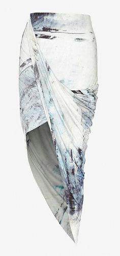Printed Asymmetrical Wrap Skirt