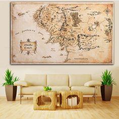 Surévaluer Carte de la Terre du Milieu Soie Tissu Affiche Salon Home Decor Toile Peinture Artisanat Cadeau Sans Cadre 110x60 cm