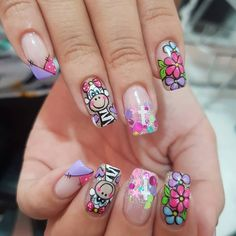 Nail Manicure, Pedicure, Animal Nail Designs, Semi Permanente, Nails Now, Girls Nails, Summer Acrylic Nails, Disney Nails, Pretty Nail Art