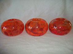 "ARTGLASS NEW 3 ORANGE GLASS 5"" HANDBLOWN ROUND VOTIVE CANDLEHOLDERS , ebay"