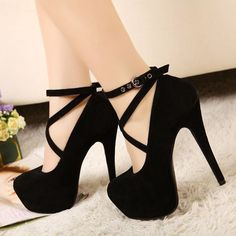 European Round Closed Toe Super High Stiletto Black Ankle Strap Pumps