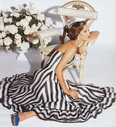 this dress! black and white striped dress + vintage blue heels=pretty perfection