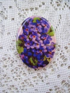 Pretty Purple VioletsFine Porcelain Cameo by mosaicsbyshell, $3.25